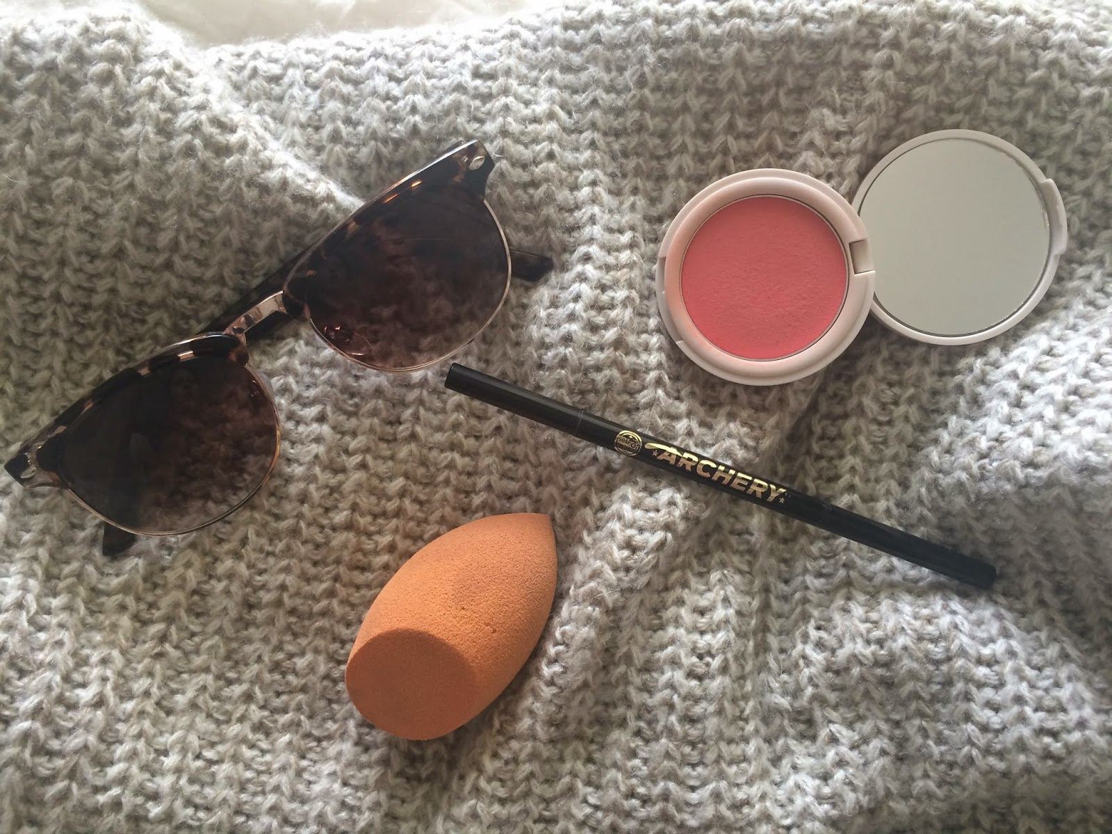 sweet allure april favourites 2015 sunglasses make up beauty blender soap and glory topshop blusher