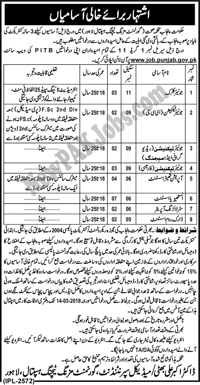Government Mozang Teaching Hospital Jobs apply via PITB Online