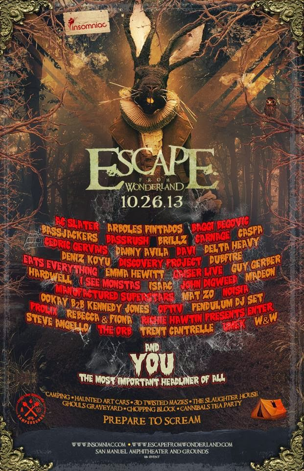 escape from wonderland 2013 lineup revealed gde