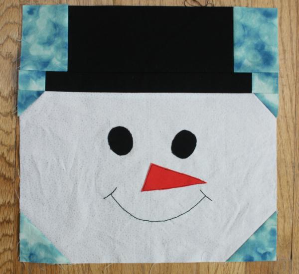Snowman quilt block | DevotedQuilter.blogspot.com