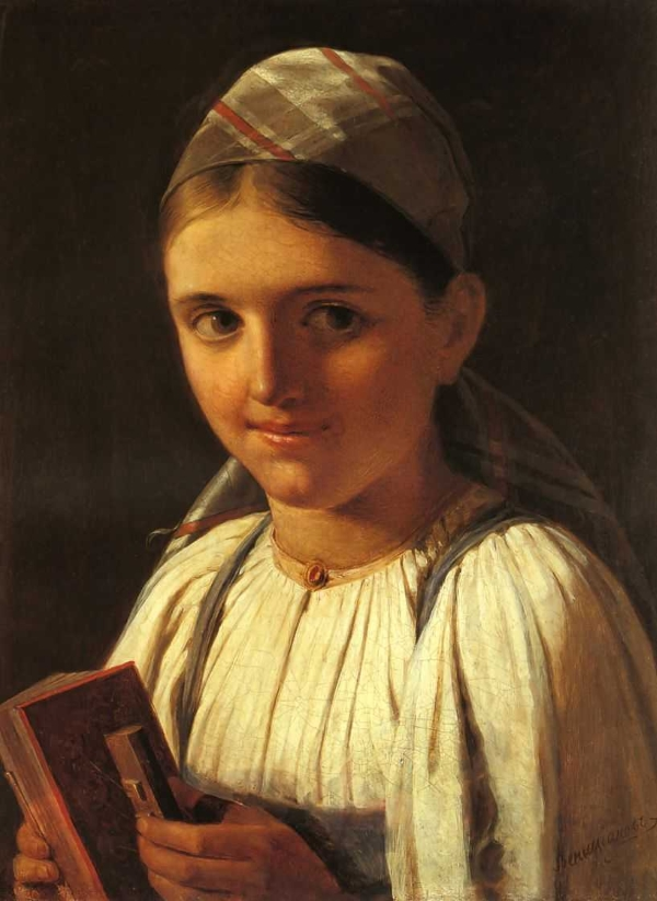 Венецианов Алексей Гаврилович (1780-1847)  Девушка с гармошкой www.womanpaint.blogspot.ru