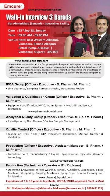 Emcure Pharmaceuticals Ltd Walk In Interview For B.Pharm, M.Pharm, M.Sc, ITI, Diploma at 23 Sep
