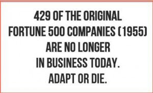 429 of the original Fortune 500 Companies (1955) are no longer in business today. Adapt or die.  BillionaireGambler.com