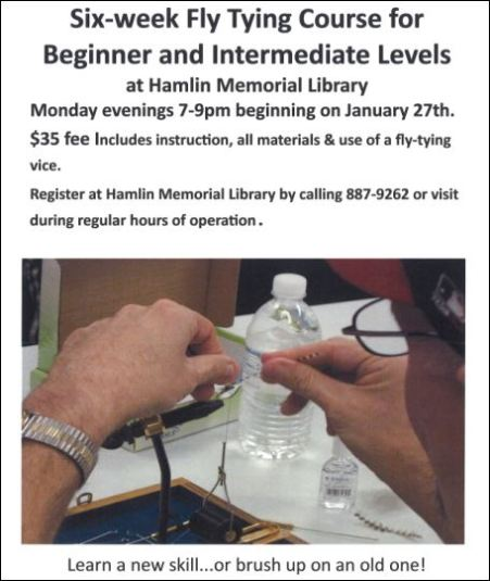 "1-27 Every Monday ""Fly Tying"" at Hamlin Memorial Library"