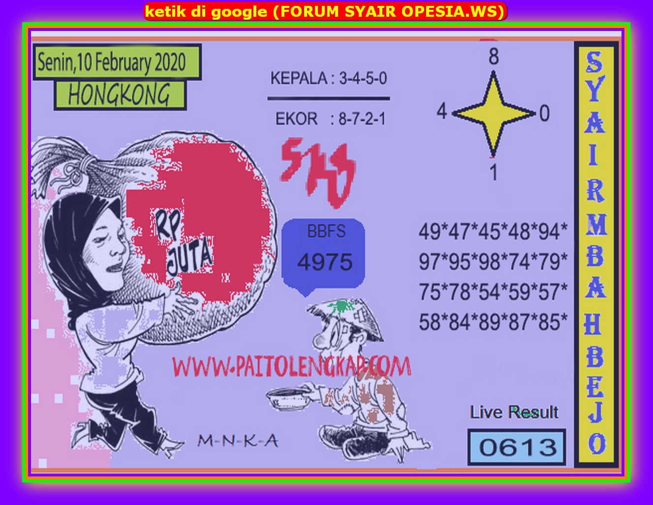 Kode syair Hongkong Senin 10 Februari 2020 109