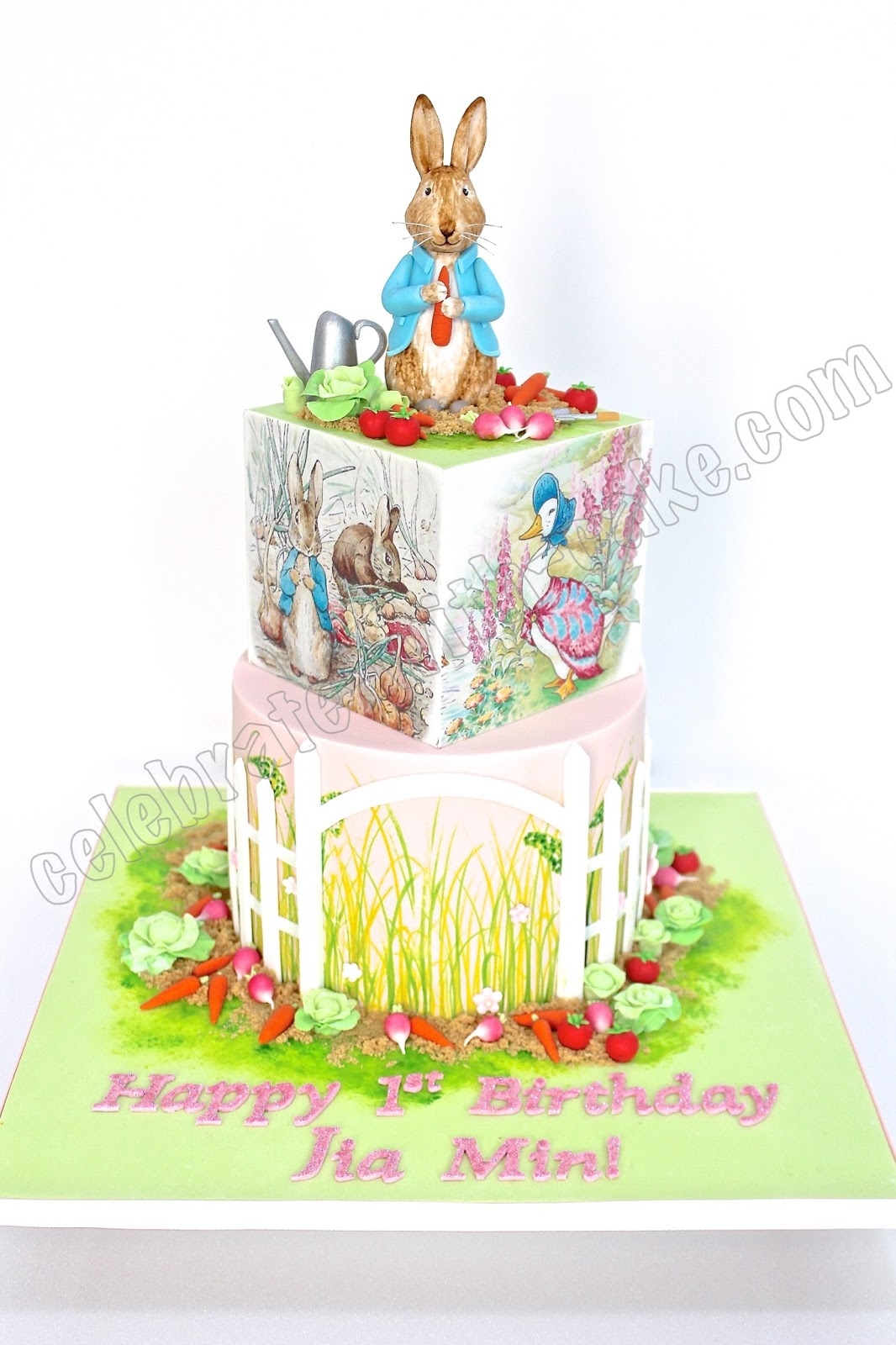 Peter Rabbit First Birthday 2 Tier Cake
