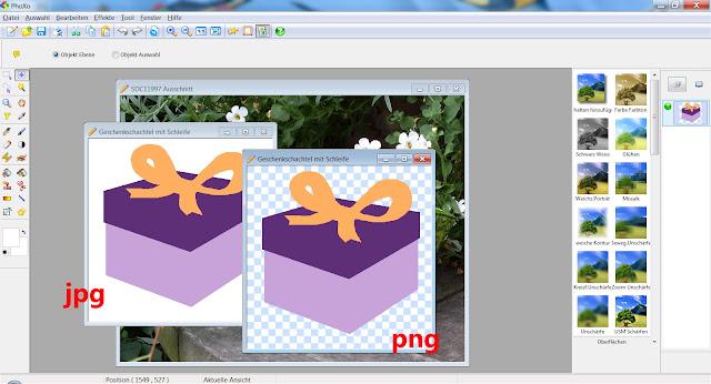 Screenshot PhoXo mit einem Geschenkmotiv in 2 Dateiformaten: JPG und PNG