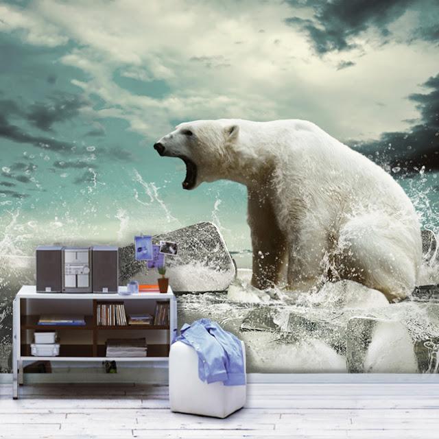 tapet djur fototapet isbjörn häftig tapet fondvägg