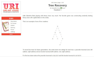 URI Online Judge Solution 1191 Tree Recovery- Solution in C, C++, Java, Python and C#