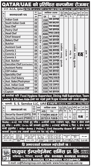 Jobs in Qatar and UAE for Nepali, Salary Rs 1,26,905