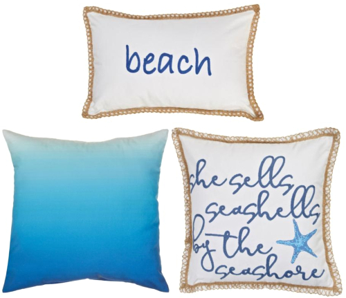Blue Coordinated Beach Pillows