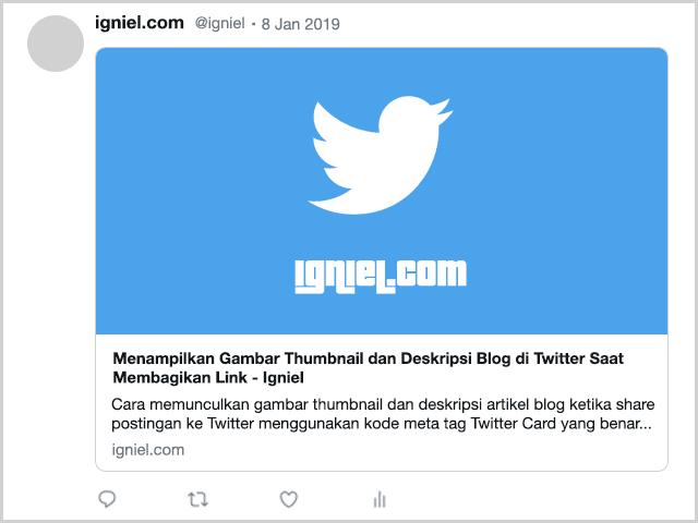 Menampilkan Gambar Thumbnail dan Deskripsi Blog di Twitter Saat Membagikan Link