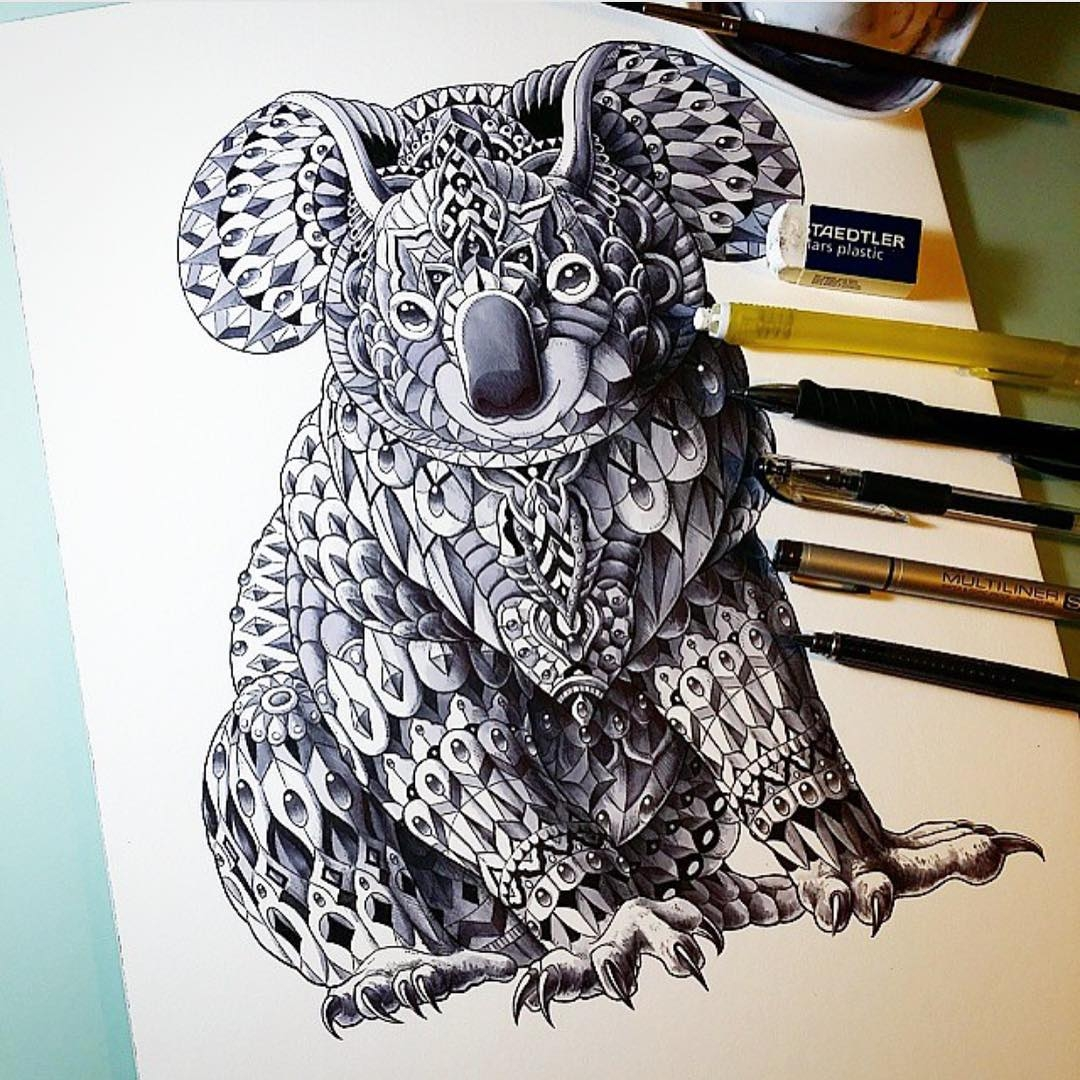 13-Koala-Ben-Kwok-Ornate-and-Intricate-Animal-Drawings-www-designstack-co