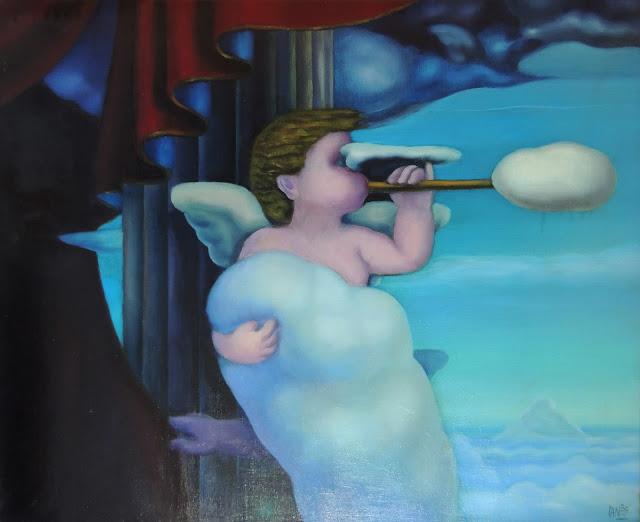 José Canes Solé pintura naíf angel con trompeta nubes