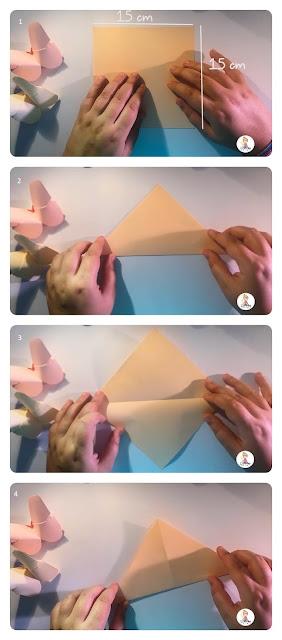 1- Corte um pedaço de papel que meça 15 /15 cm.