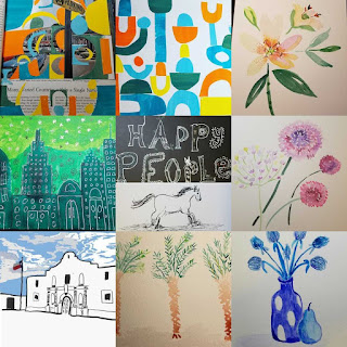 Art collage with different multi-color shapes, a nightsky citycape all in green, horse, Happy People Lettering, Digital Drawing of Alamo in San Antonio, Palm Trees, and blue still life of flowers and pear