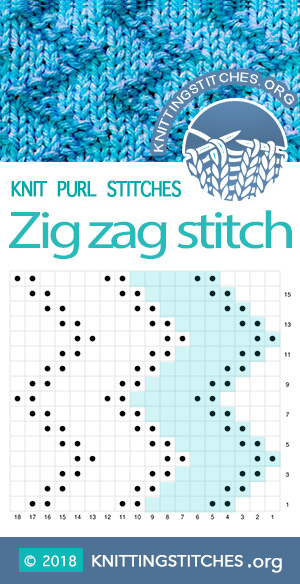 Zig Zag Stitch / Zick Zack Stitch / Rick Rack Stitch. Skill level: Easy. Multiple of 6 sts. Techniques used: Knit and Purl,