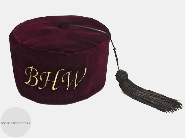 Gentleman's english velvet smoking cap embroidered