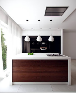 Smallish modern kitchen with island bar