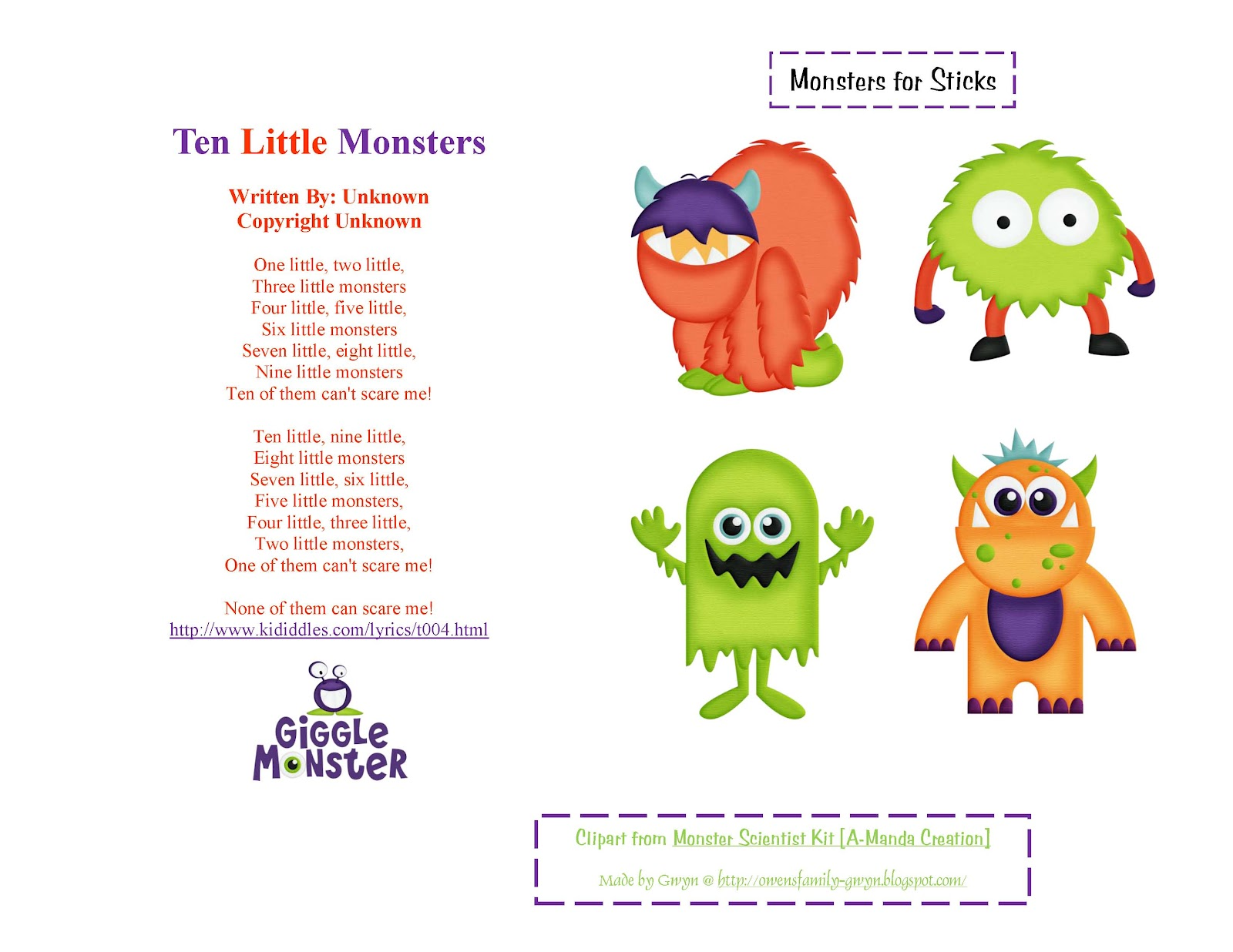 Ten Little Monsters Page 1