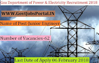 Goa Department of Power & Electricity Recruitment 2018- 62 Junior Engineer