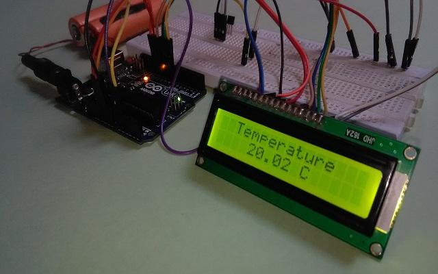 Circuit तैयार करें lm35 और lcd 16X2