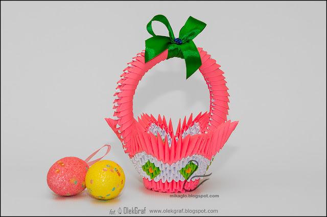 375. Różowy koszyczek / 3d origami pink easter basket