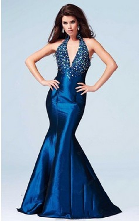 Perfect Trumpet/Mermaid Taffeta with Crystal Detailing Halter Evening Dresses- Price: $142.02 ( 56.0% OFF )