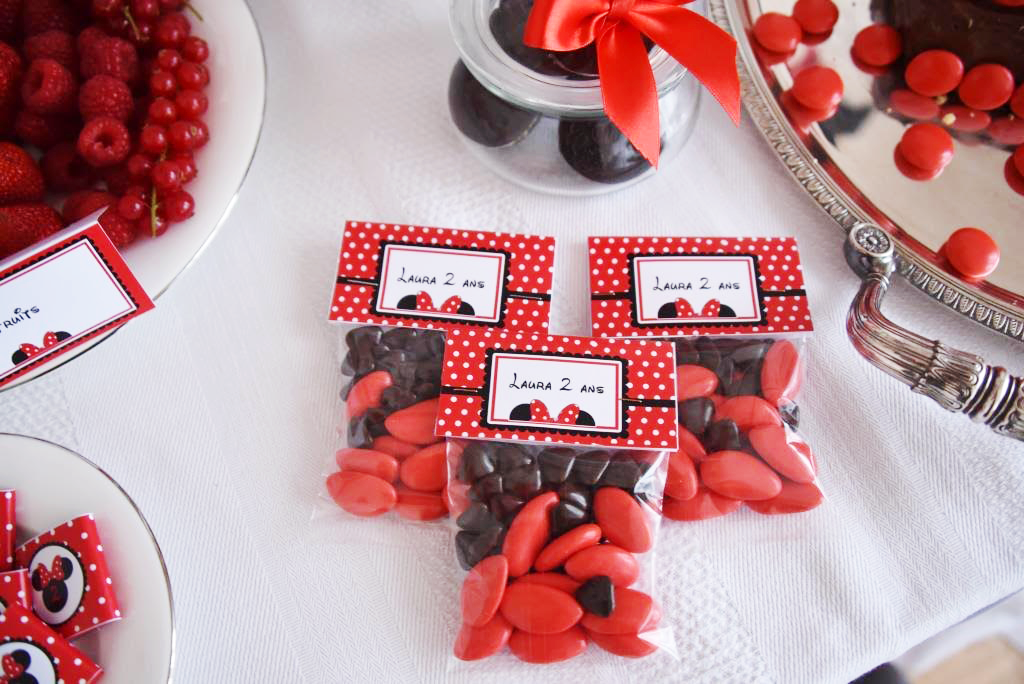 Sachets bonbons theme Minnie rouge