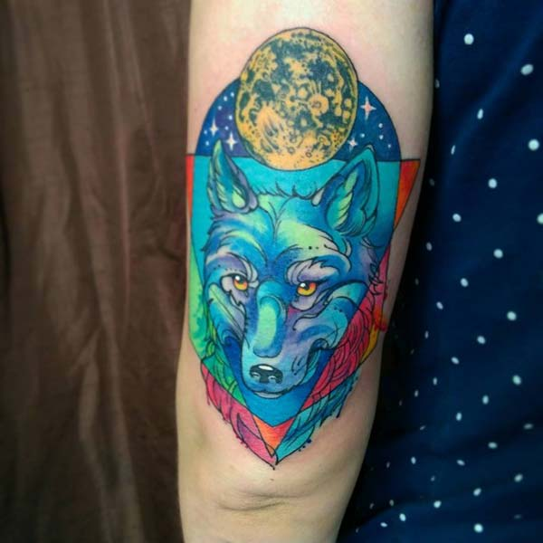 blue wolf tattoo design