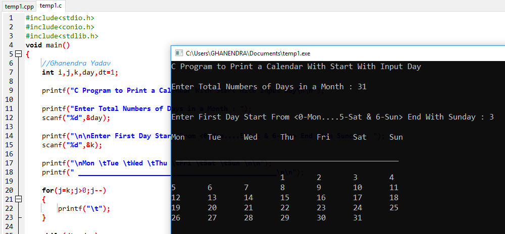 C Program To Print A Calendar By Taking Input From User Using Loop