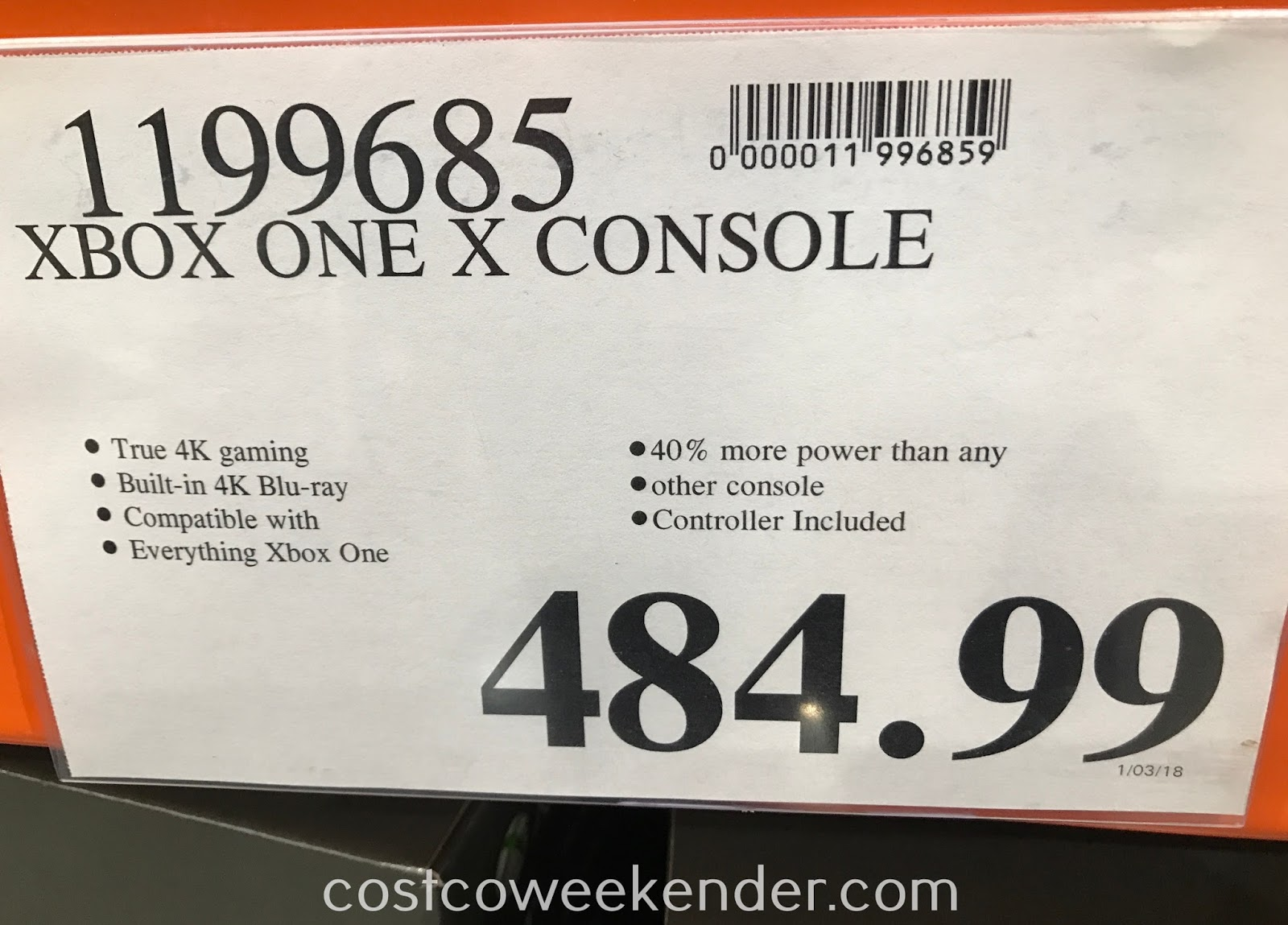 Deal for the Microsoft Xbox One X at Costco