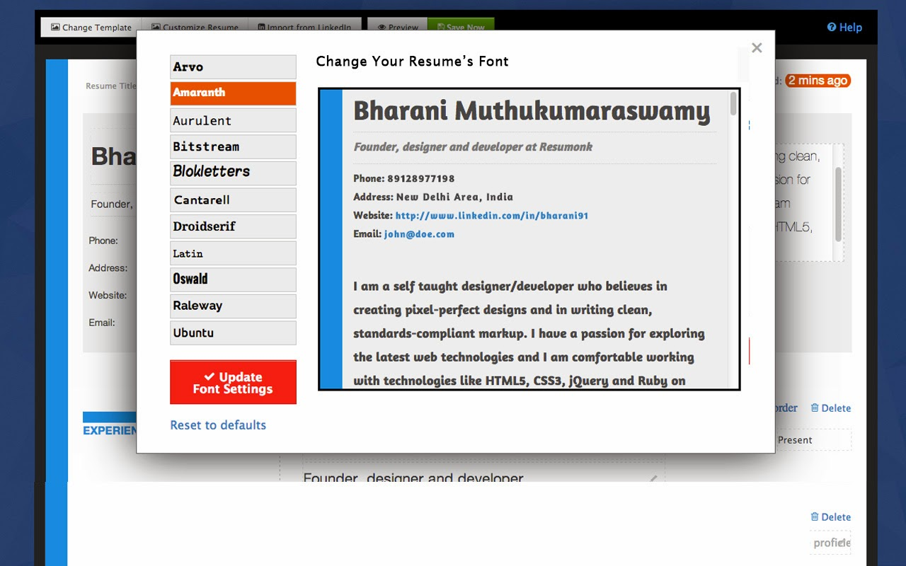 create a beautiful online resume with resumonk