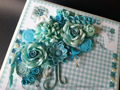 Caixa decorada, flores porcelana fria.