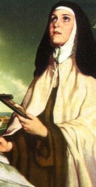 Imagen de Santa Teresa de Avila con Jesucristo resucitado