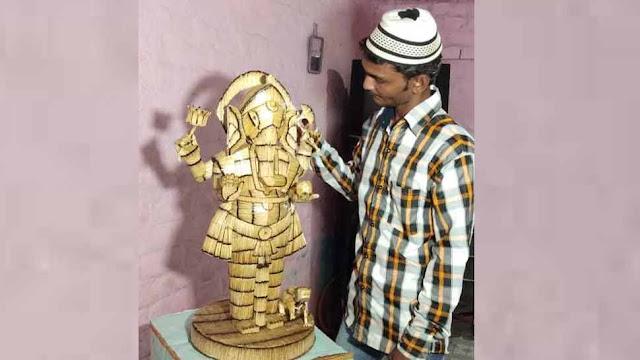 गुजरातः मुस्लिम युवक ने माचिस की 12 हजार तीलियों से बनाई गणपति की अनोखी मूर्ति