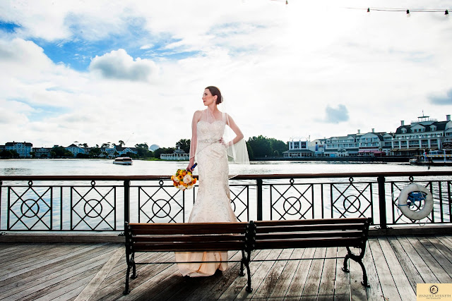 bride on bench