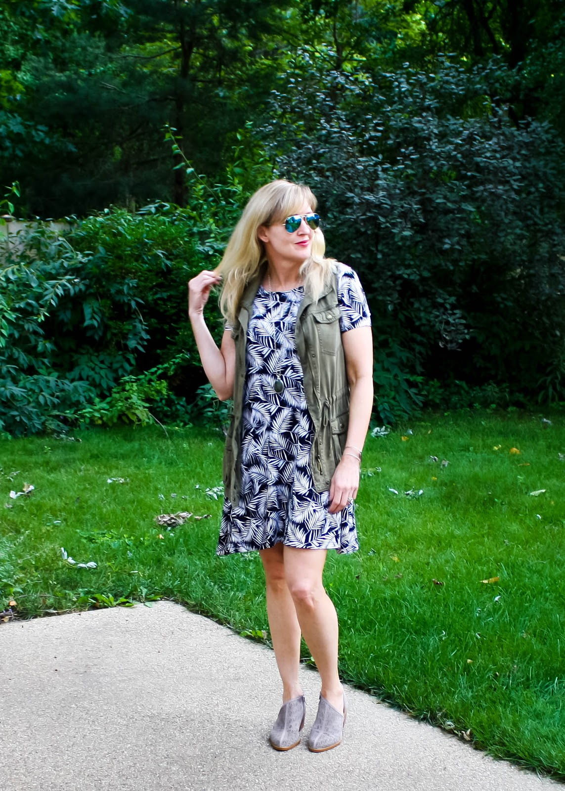 Palm Print Dress Styled for Fall