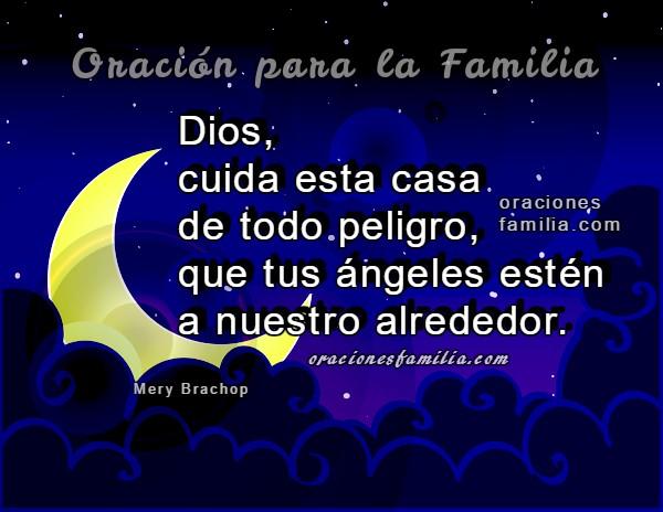 Buenas noches con oración por la familia, Dios cuide mi hogar en la noche, frases a Dios antes de dormir, oraciones cristianas con imágenes por Mery Bracho.