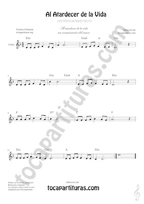 Violín Partitura de Al Atardecer de la Vida Sheet Music for Violin Music Scores