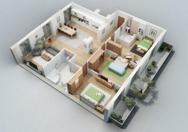 denah rumah ukuran 13x15 yang minimalis