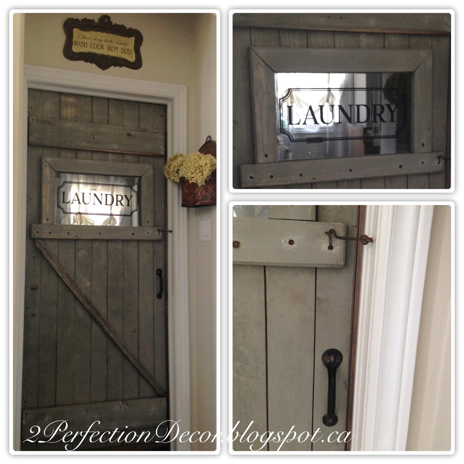 2Perfection Decor: Antique Barn Door as our Laundry room door