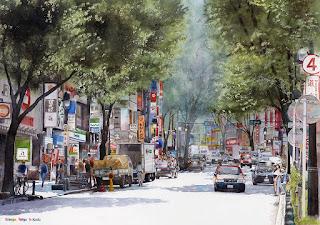 水彩画 渋谷道玄坂 Watercolor Shibuya