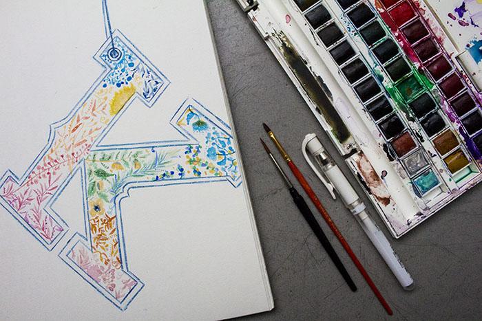 Draw on Monday #29 Abécédaire, graphic, graphisme, alphabet, design, watercolor, aquarelle, brush, floral pattern,