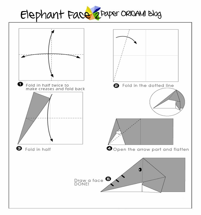 Step By Step Instructions How To Make Origami An Elephant. Stock ... | 720x672