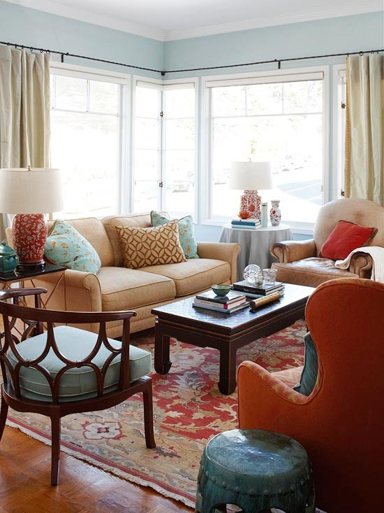 What Color Should I Paint My Living Room With A Tan Couch Cheap Lamps Eye For Design: Decorating The Blue/orange ...