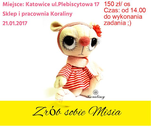 Zrób/uszyj sobie misia z Koraliny.pl! Warsztaty!