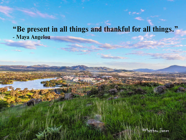 """Be present in all things and thankful for all things."" ― Maya Angelou"