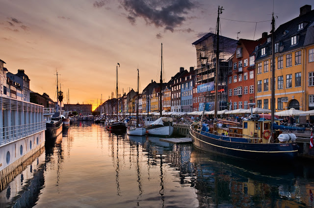 View of the old port area of Nyhavn,Copenhagen