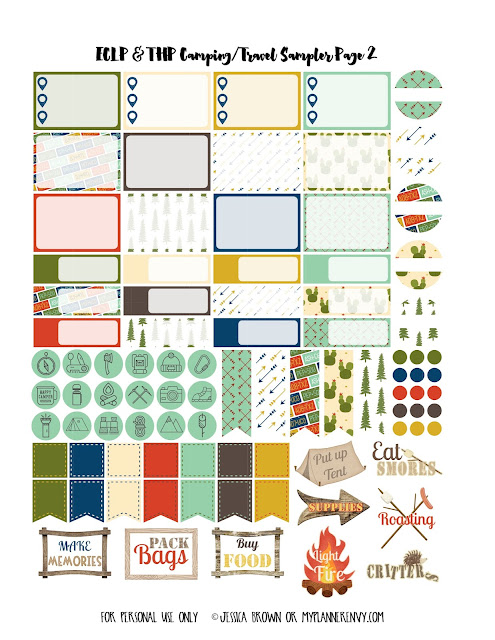 Free Printable Camping/Travel Sampler Page 2 for the Vertical Erin Condren & Regular Happy Planner on myplannerenvy.com